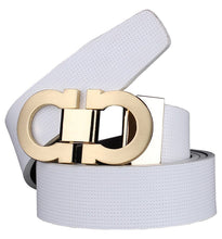 HeLiWu Men's Smooth Leather Buckle Belt