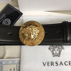 """New Versace Round Gold Medusa Buckle Black Leather Men's Belt 105/42 fit 37-38"""