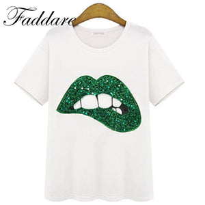 Hot Sale 2017 New Fashion Casual Vestidos Printed Red Lips Women's T-shirts Brand Summer Short Sleeve Loose Top Tee Shirt