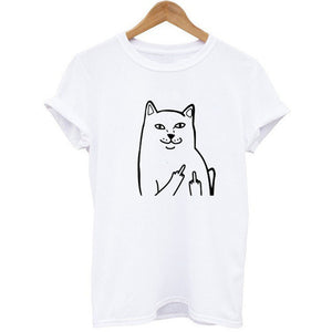 Harajuku Style Middle Finger Pocket Cat T Shirt Funny Graphic Print Tee Shirts Go Away Short Sleeve Hispter Tee Shirt Tops
