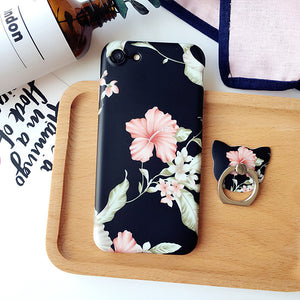 Retro Flower case + Ring Grip Case for iPhone 6 6s Plus TPU soft Case For iPhone 7 7 Plus Case