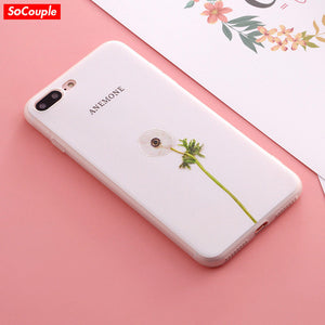 Silicone Case For iphone 6 6s 6plus Case For iphone 7 7plus Case Plants Cactus Flower Rose Pattern Relief Ultra-Thin Phone Case