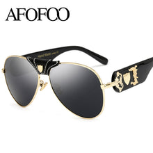 AFOFOO New Fashion Sunglasses Metal Leather Decoration Frame Luxury Brand Designer Women Mirror Sun glasses Men UV400 Shades