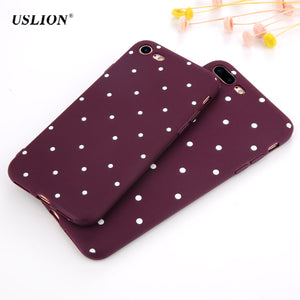 USLION Fashion Wine Red Wave Point Phone Case For iPhone 7 6 6s Plus 5 5s SE Dots Soft TPU Cases Back Cover For iPhone7 Plus