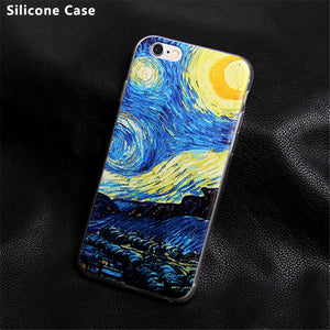 Phone Cases for iphone 7 Plus Soft Silicone Van Gogh Star print cover case for apple iphone 4 4s 5 5S 5C SE 6 6s plus case coque