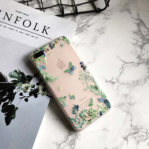 USLION Elegant Floral Leaves Ultrathin Frosted Phone Case For iPhone 7 Vintage Soft TPU Back Cover Cases For iPhone7 6 6s Plus