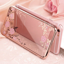 ZNP New Rhinestones Transparent Soft TPU Plating Case For iPhone 7 6 Cover For iphone7 6 cases for iphone 6 7 case Phone Cases