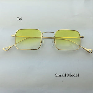 Vintage Square sunglasses women Brand Design retro woman summer clear lens sunglasses with red lenses yellow green Oculos de sol