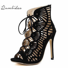 Rumbidzo Brand Women Shoes Summer Women Sandals Casual Peep Toe  Lace Up Cutouts Sandals Shoes Woman High Heels Gladiator
