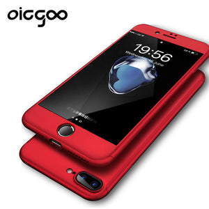 Oicgoo 360 Degree Protection Black case For iPhone 7 7 Plus Cover For iphone 6 6s Cases Full Cover Slim + Screen Protector Glass