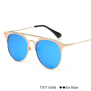 WISH CLUB Fashion Rose Gold Mirror Sunglasses Women Cat Eye Lady Sun Glasses Brand Designer Metal Frame Cateye Female UV400