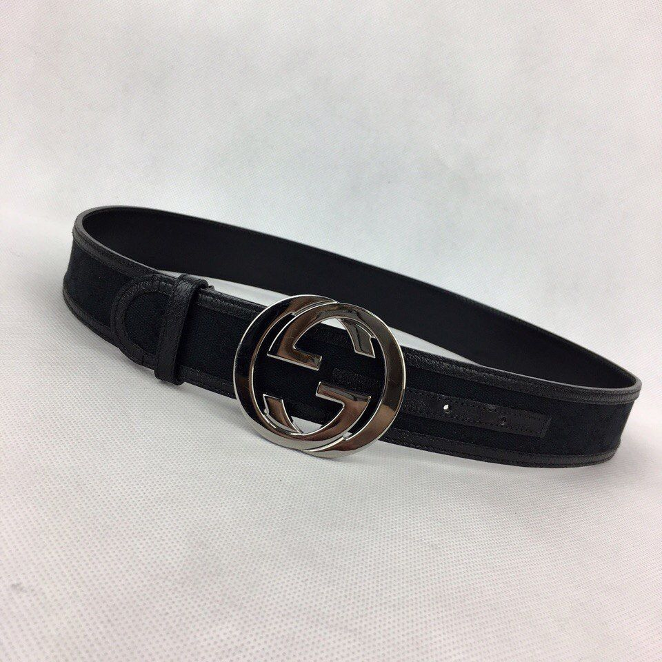 GUCCI Womens Black Canvas Leather Guccissima GG Buckle Belt 85/34 S-M