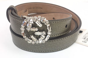 "AUTHENTIC Gucci Swarovski Crystal GG Buckle Gray Leather Belt 354380 31""-35""NWT"