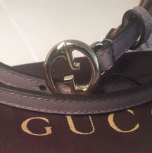 "AUTHENTIC New Gucci($159) GG Buckle Thin Purple Leather Belt #362731, 28""-32""NWT"