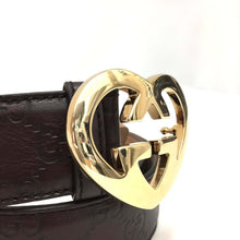 100% Authentic GUCCI Sima Heart GG Buckle Gold Brown Leather Belt 30 inch /3188