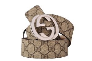 Gucci Belt 95 Adjustable GG LOGO Calfskin Plain 110 cm x 4 cm