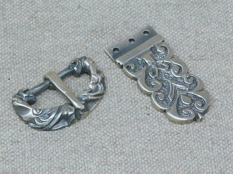 medieval viking sword belt buckle bronze cast ornate plate set