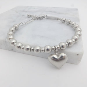 Heart Drop Charm Beaded Bracelet