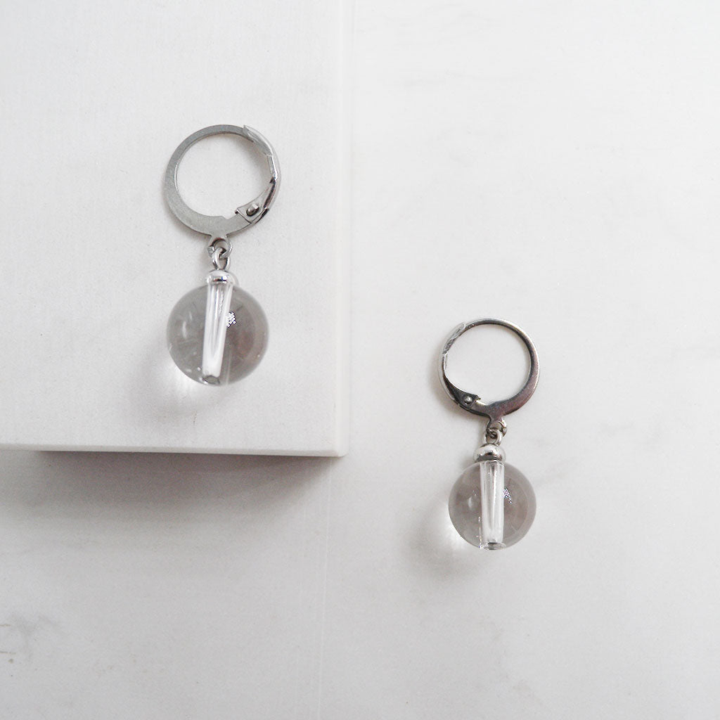 Clear Quartz Drop Earrings 316L Stainless Steel hypoallergenic