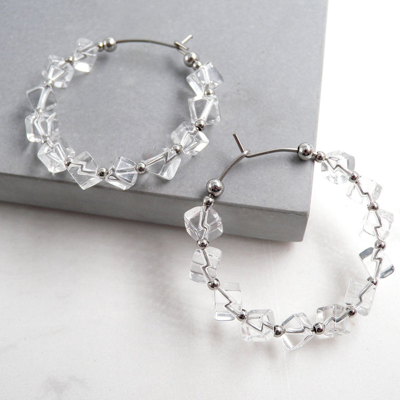 Clara Clear Quartz Hoop Earrings