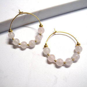 Milky Rose Quartz Beaded Earrings