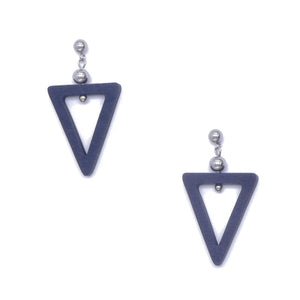 Wooden Triangle and Bead Drop Earrings