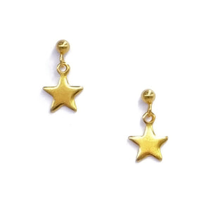 Tiny Minimalist Star Drop Earrings