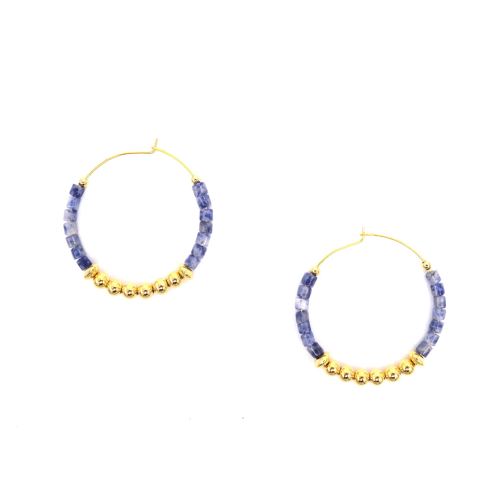 Blue-vein Stone Beads Hoop Earrings