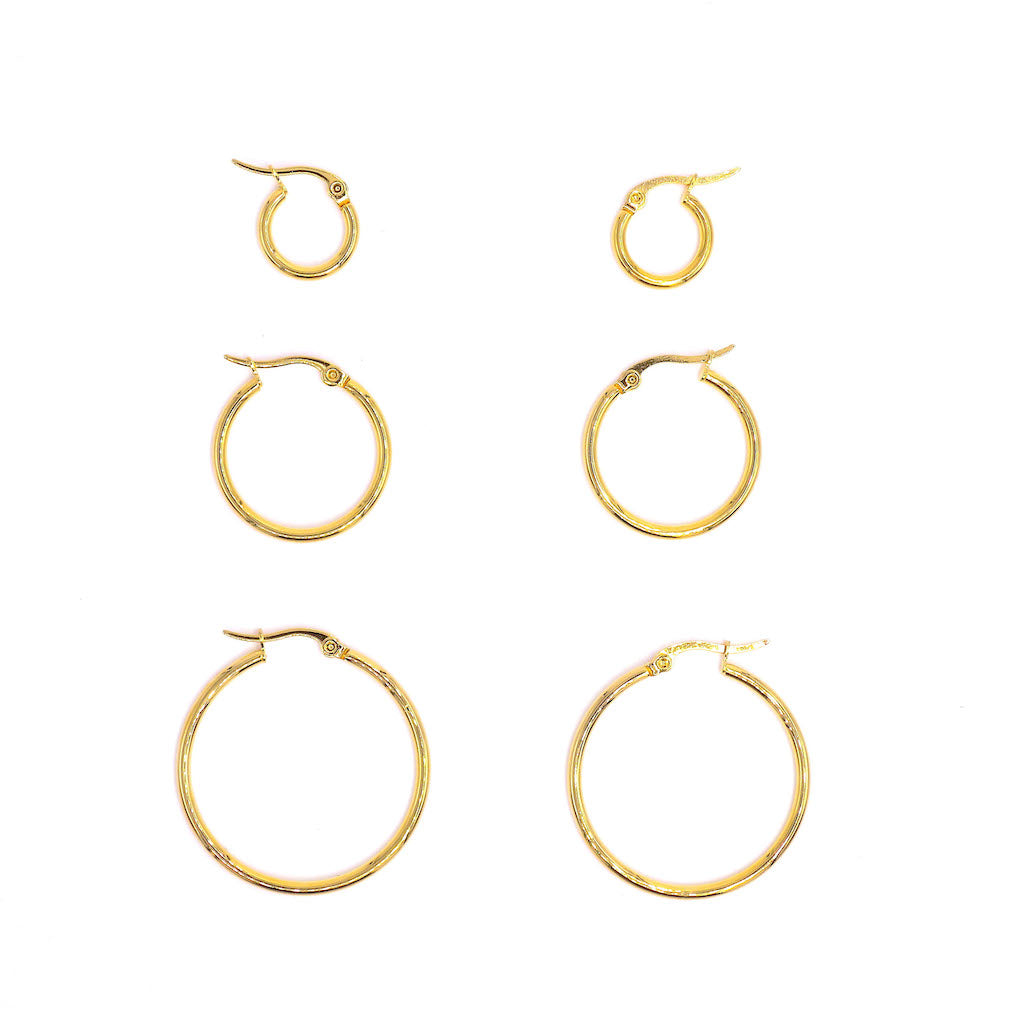 Pack of 3 Simplistic Hoop Earrings