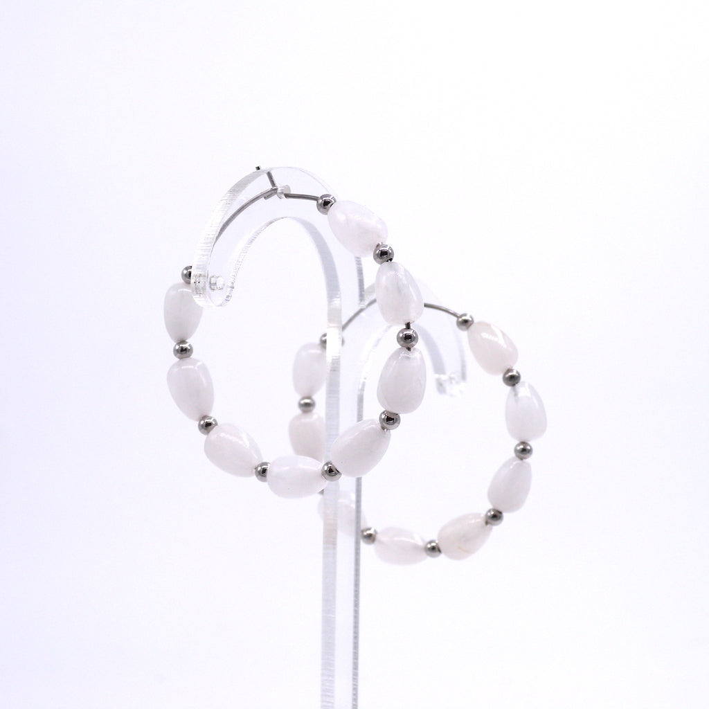 Scolecite Hoop Earrings