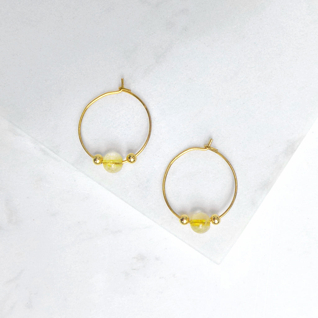 Little Delights Gold Rutilated Quartz Hoop Earrings