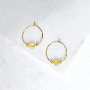 Minimal Gold Rutilated Quartz Hoop Earrings