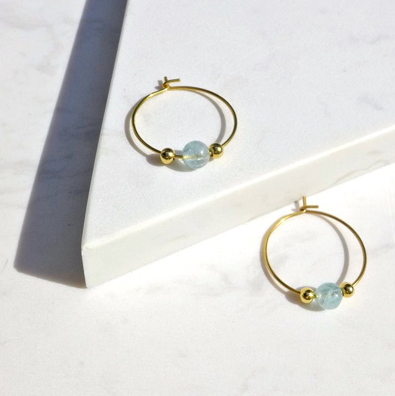 Little Delights Aquamarine Hoop Earrings