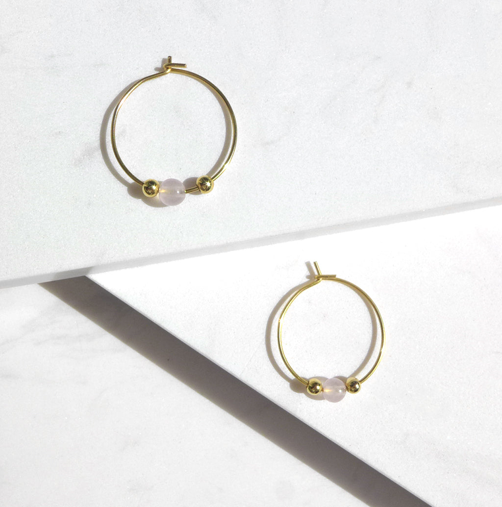 Little Delights Rose Quartz Hoop Earrings