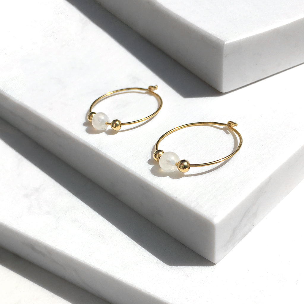 Little Delights Moonstone Hoop Earrings