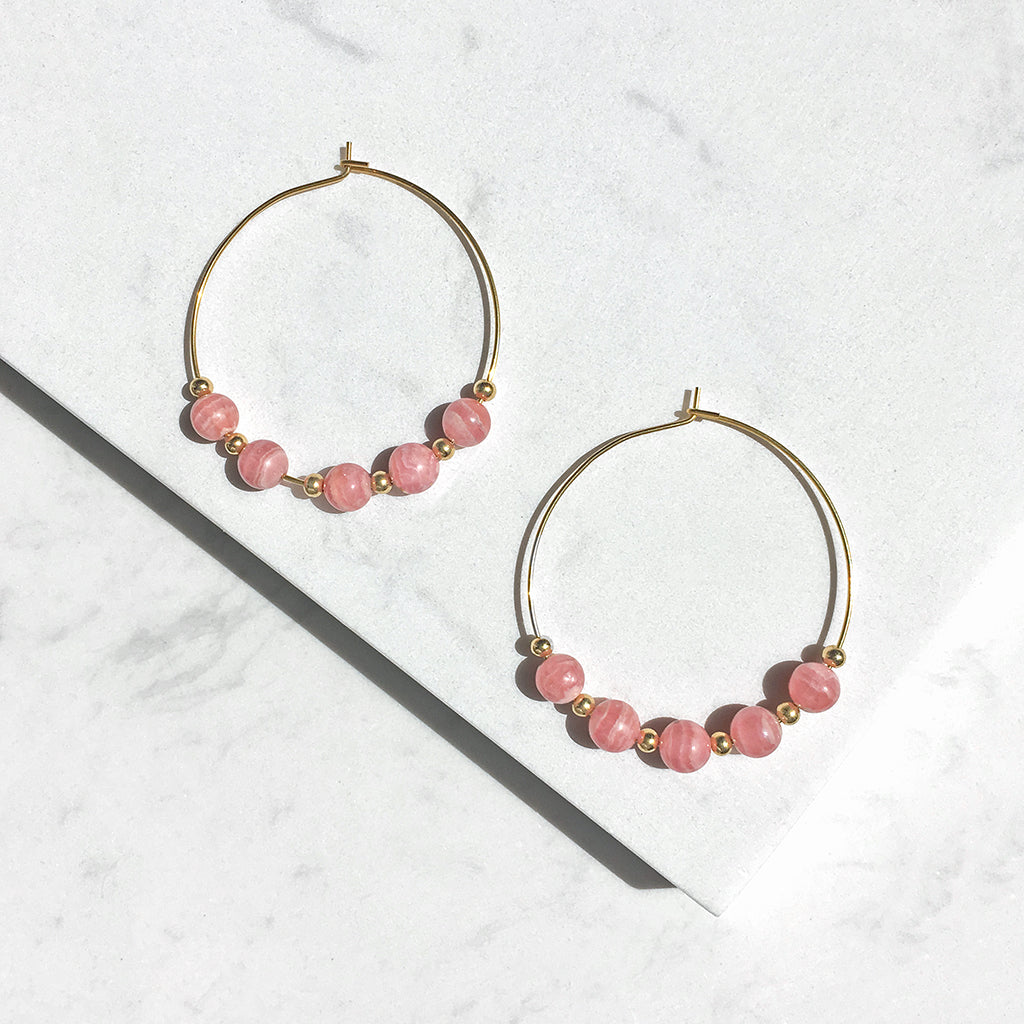 Cupid Rhodochrosite Hoop Earrings