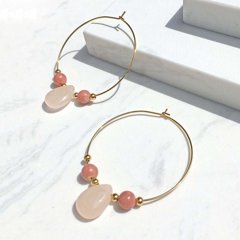 Icy Peach Hoop Earrings