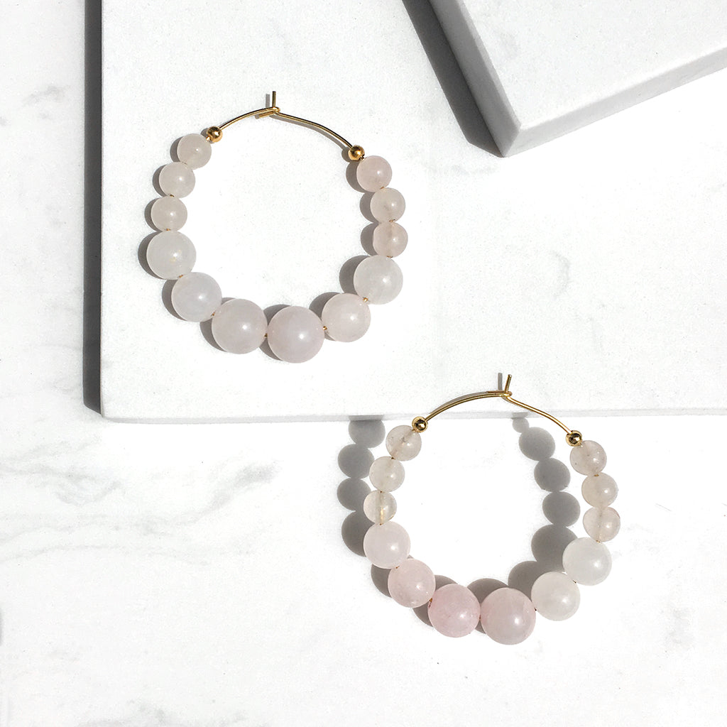 Oversized Milky Rose Quartz Hoop Earrings