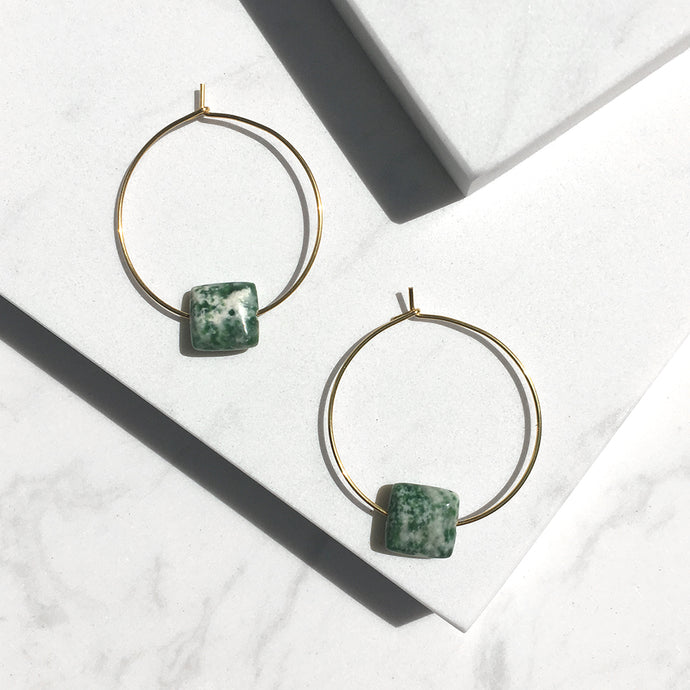 Minimal Greed Spot Jade Hoop Earrings