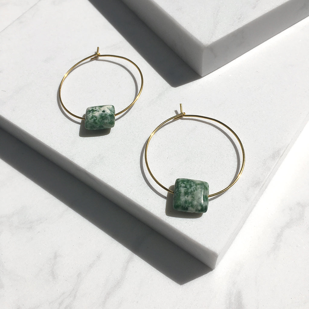 Minimal Green Spot Jade Hoop Earrings