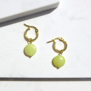 Lemon Jade Drop with Mini Hoop Earrings