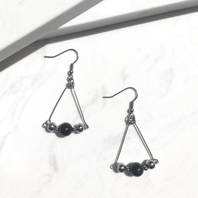 Obsidian Triangular Drop Earrings