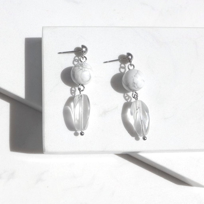 Howlite With Clear Quartz Drop Earrings