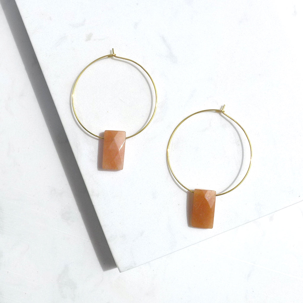 Simple Aventurine Hoop Earrings
