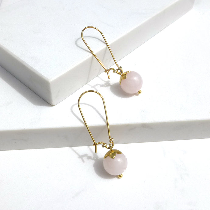 Milky Rose Quartz Dangle Earrings