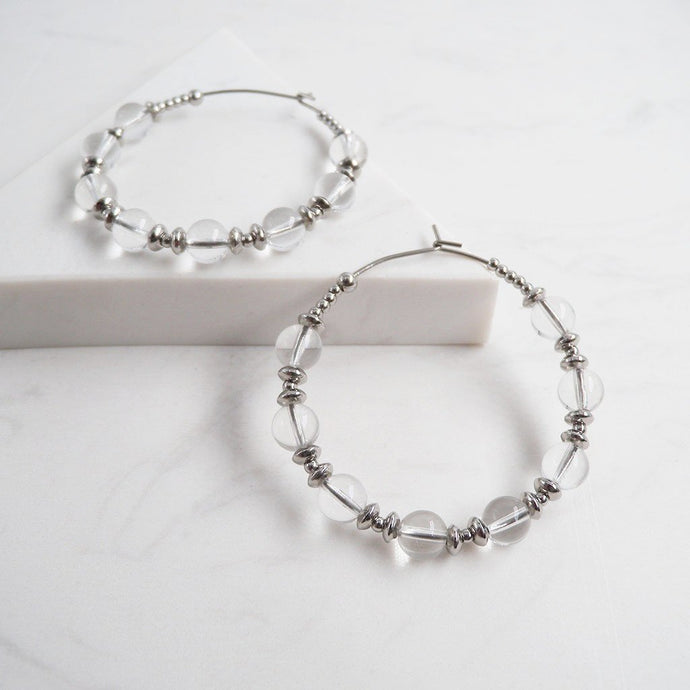 Clear Quartz Beaded Hoop Earrings