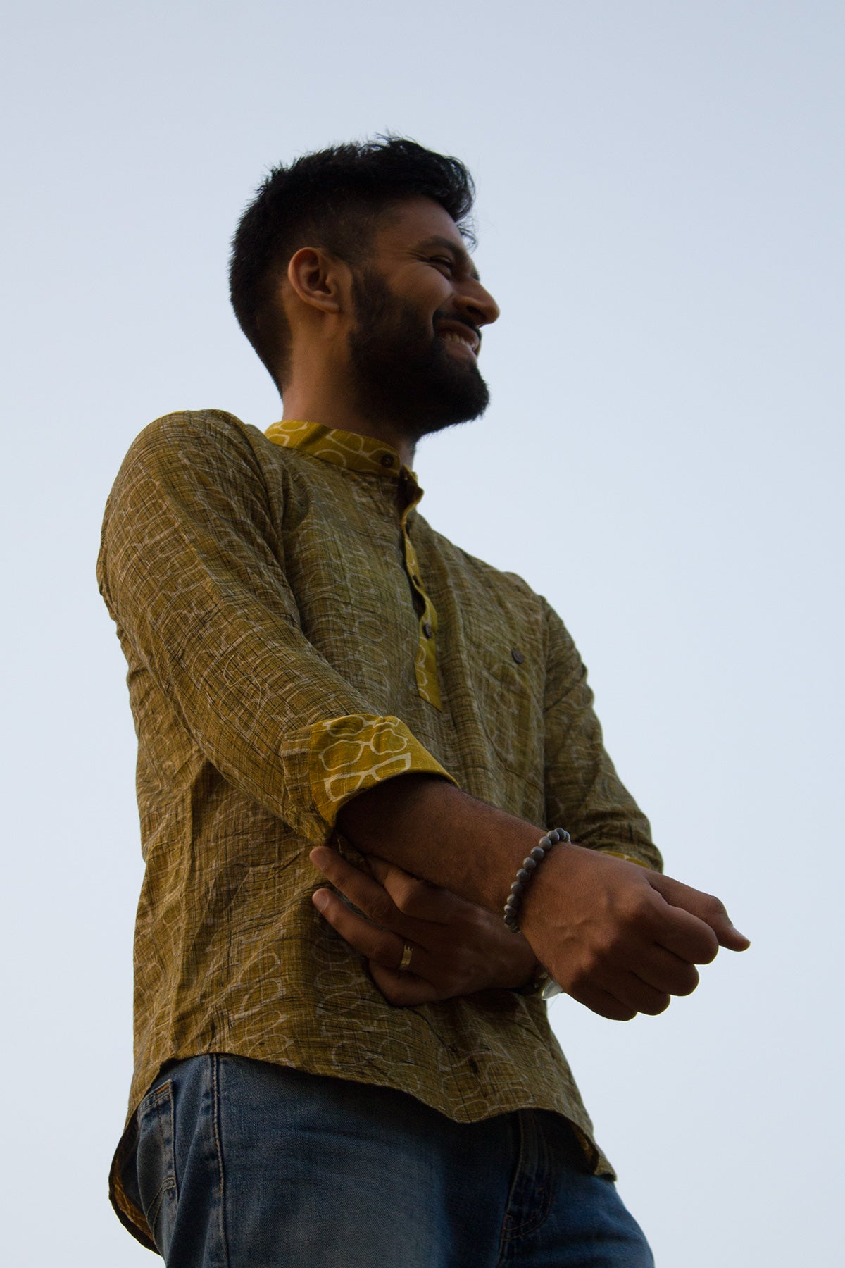 Cotton Printed Short Kurta - Mustard Yellow