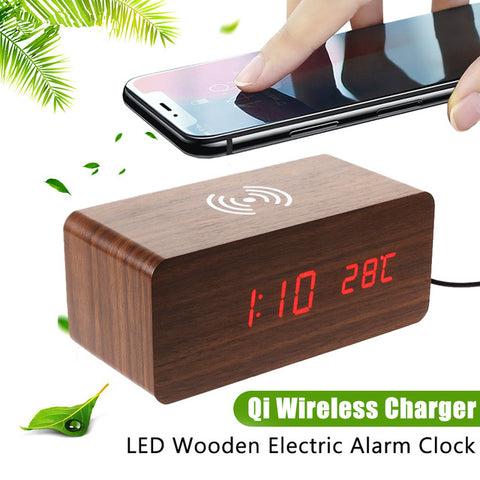 Qi LED Alarm Clock Sound Control Qi Wireless Charger for Mobile