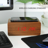 Qi LED Alarm Clock Sound Control Qi Wireless Charger for Mobile Phone
