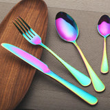 4pcs/sets of stainless steel Rainbow Western tableware gifts